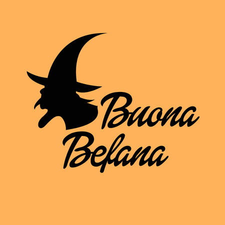 Happy Epiphany (Epiphany is a Christian festival) with Italian Lettering Quote Buona Befana. Illustration