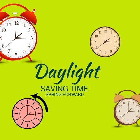 Daylight Saving Time(Spring Forward). Векторная Иллюстрация