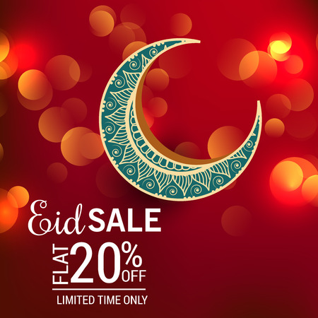 Eid sales flat 20% off in red bokeh Stock Illustratie