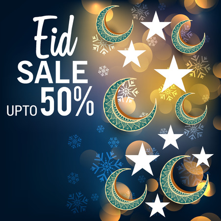 Eid sales up to 50% in blue bokeh Ilustrace