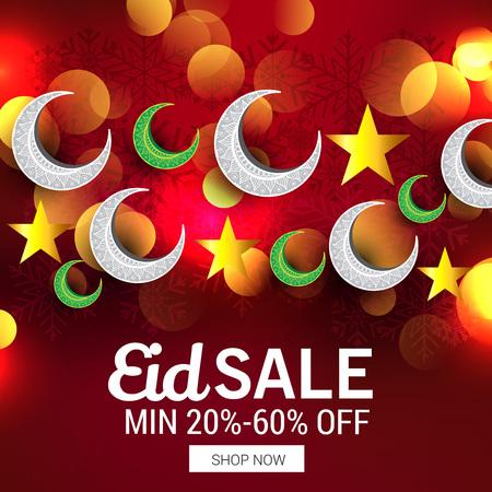Eid sales min 20%-60% off in red bokeh