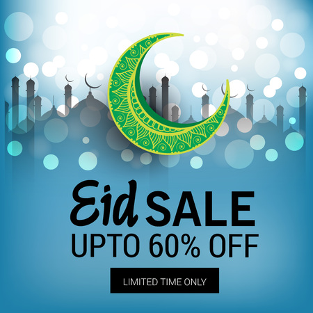 Eid sales up to 60% in blue bokeh Ilustrace