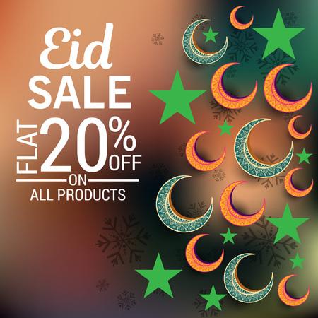 Eid sales flat 20% off in brown bokeh Stock Illustratie