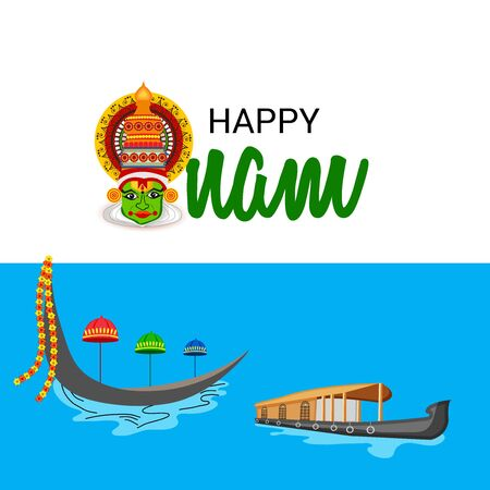 Vector illustration of a celebration background for Happy Onam festival of South India Kerala.