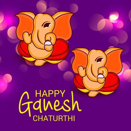 Vector illustration of a Creative Card, Poster or Banner for Festival of Ganesh Chaturthi Celebration. Ilustração
