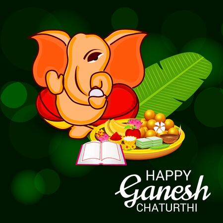 Vector illustration of a Creative Card, Poster or Banner for Festival of Ganesh Chaturthi Celebration. Vectores