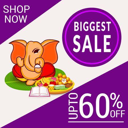 Vector illustration of a Creative Card, Poster or Banner for Festival of Ganesh Chaturthi Celebration. 일러스트