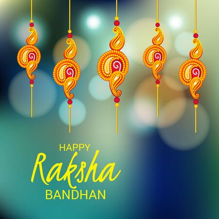 Vector illustration of a Background for Happy Raksha Bandhan Indian festival of sisters and brothers.