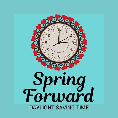 Vector illustration of a Background for Daylight Saving Time Summer Fall Back and Spring Forward.