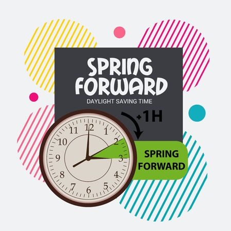 Vector illustration of a Background for Daylight Saving Time Summer Fall Back and Spring Forward. Vektorové ilustrace