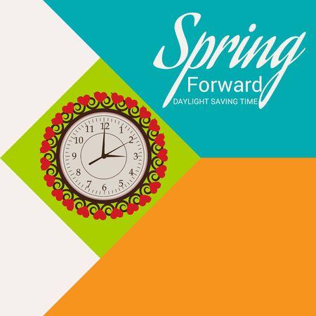 Daylight Saving Time Summer Fall Back and Spring Forward. Vektorové ilustrace