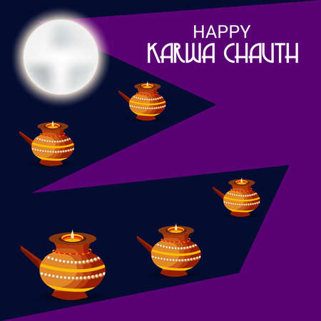 Vector illustration of a Background for indian festival of karwa chauth celebration.