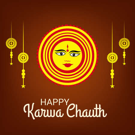 Vector illustration of a Background for indian festival of karwa chauth celebration. 版權商用圖片 - 158655708
