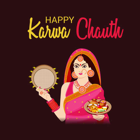 Vector illustration of a Background for indian festival of karwa chauth celebration. 版權商用圖片 - 158655712