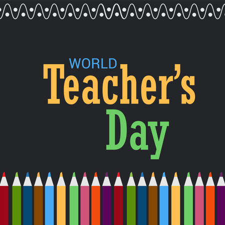Vector illustration of a Background for World Teacher's Day. Stok Fotoğraf - 158528316