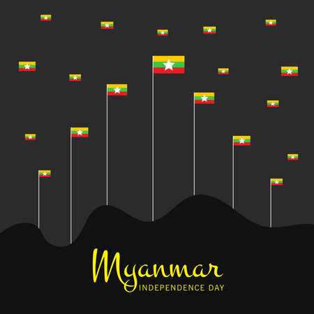 Vector illustration of a Background for Happy Myanmar Independence Day.