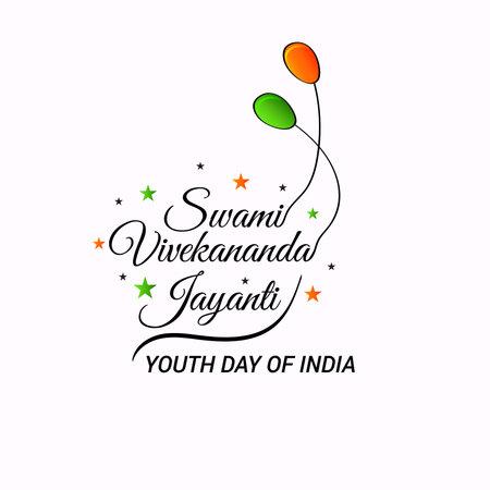 Vector illustration of Swami Vivekananda Jayanti, National Youth Day. Stock Illustratie