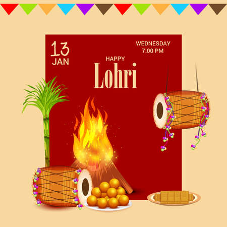 Vector illustration of a Background for Happy Lohri holiday Template for Punjabi Festival.