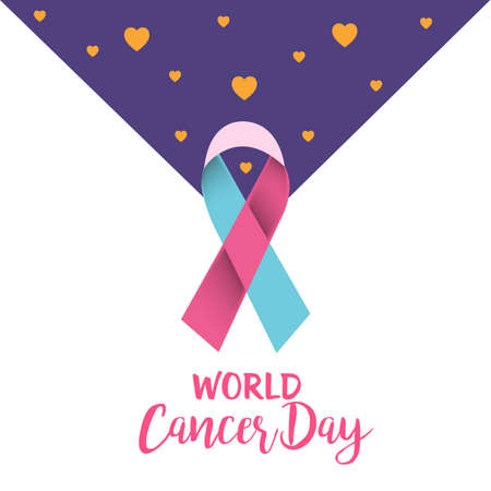 Vector illustration of a Background for World Cancer Day (February 4) Awareness Ribbon.