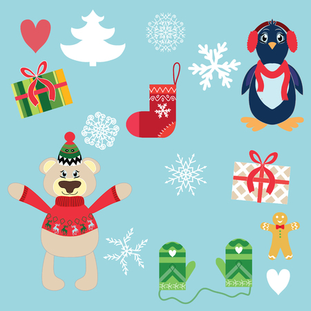 Set of Christmas cute elements on blue background, vector Vector