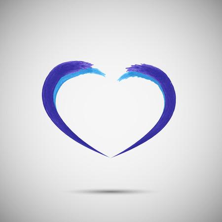 Azul del vector del corazón diseño del logotipo de la plantilla. Emblema symbol.Vector ilustración