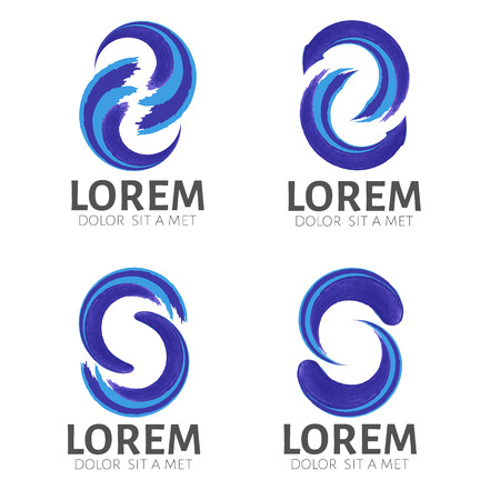 s curve: Set of Watercolor Waves  vector design logo template .