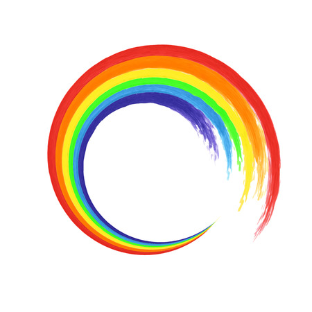 Brush stroke rainbow circle on white background  for your design. Watercolor. Vector illustration
