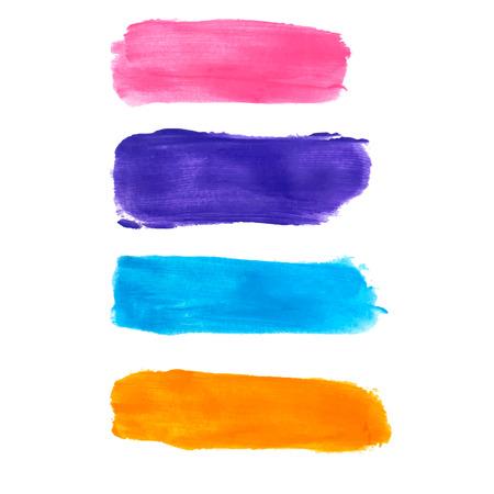 watercolor brush: Colored watercolor brush strokes set. Vector illustration