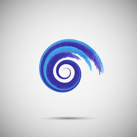 Blue wave logo template.  Sea surf  emblem symbol. Watercolor brush strokes.Vector illustration