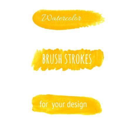 yellow paint: Yellow watercolor brush strokes set. Vector illustration