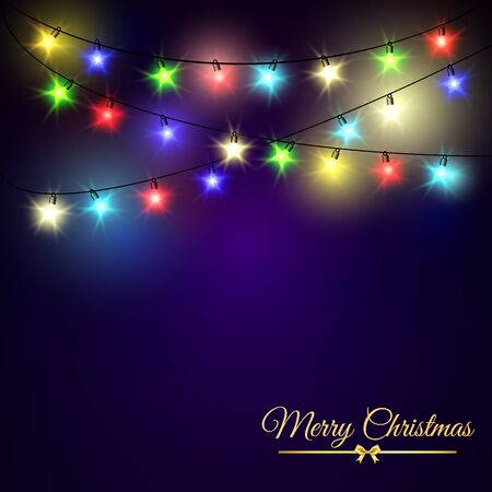 Colourful Glowing Christmas stars Lights on dark background. Vector illustration