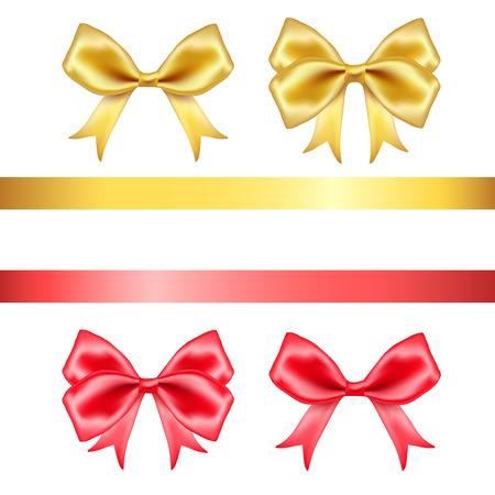 ribbons and bows: Red and golden silk  bows and ribbons set on white background. Vector illustration