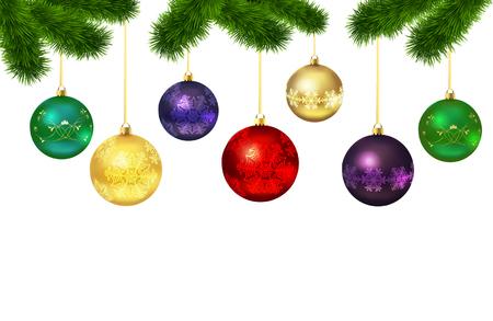 moños navideños: Bolas de Navidad con adornos aislados en el árbol de pieles en el fondo blanco. Ilustración vectorial