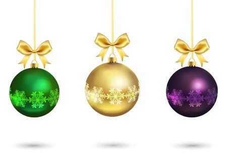 cintas navide�as: Bolas de Navidad con cinta de oro y arcos aislados sobre fondo blanco