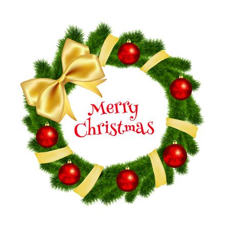 evergreen branch: Corona de Navidad hecha de abeto con una cinta de oro y bolas rojas. ilustración vectorial