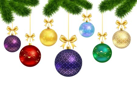 pine decoration: Christmas balls with ornament and bow  isolated on white background with fur-treei. Vector illustration