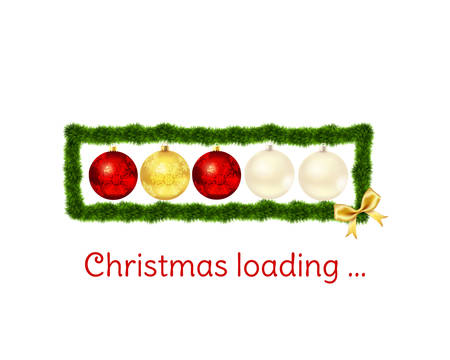 digital download: Christmas loading bar on white background. Christmas baubles and fur-tree frame with golden bow. Vector illustration