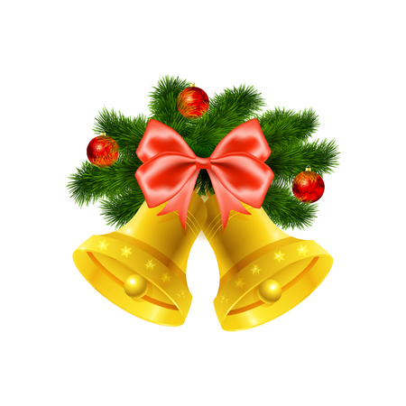 fur tree: Christmas bells. Decoration of  red bow and fur tree with baubles  on white background. Vector illustration