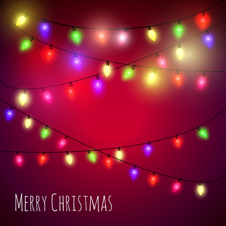 christmas bulbs: Colourful  Christmas Lights greeting card. Vector illustration