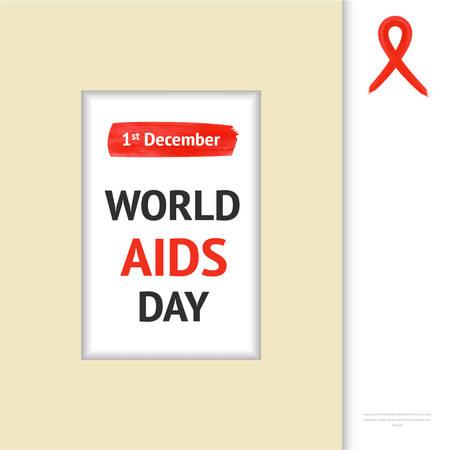 relaciones sexuales: Marco concepto Día Mundial del Sida con la cinta roja y el texto 01 de diciembre
