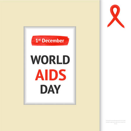 sexual intercourse: World Aids Day concept  frame with red ribbon and text 1st December Illustration