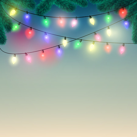 christmas lights: Christmas background with Christmas lights and spruce branches