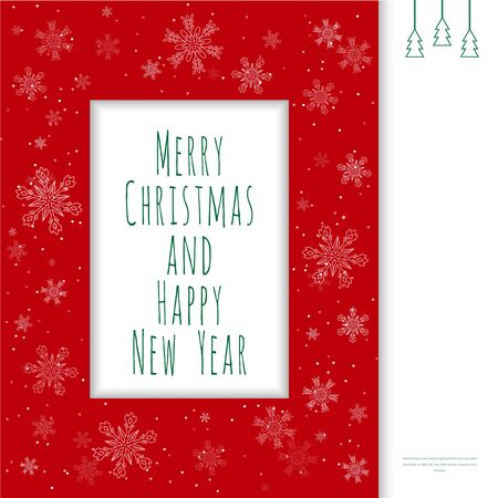 text box: Christmas greeting card. Red frame with snowflakes and  text box. Christmas background. Christmas decoration.