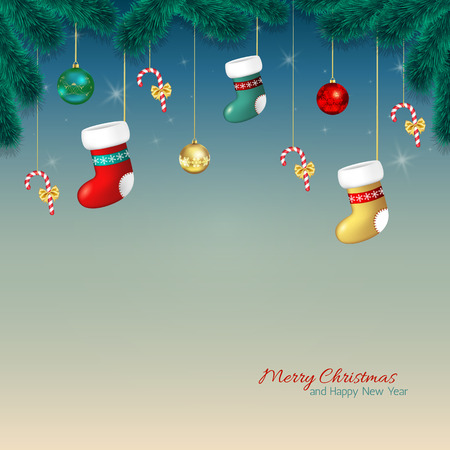 christmas backdrop: Christmas background. Cartoon Christmas greeting card with baubles, stocking and candy cane, tree branches.Template for Greeting card, Congratulations, invitations.Vector illustration Illustration