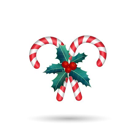 Christmas candy cane with golden bow isolated on white background.Vector illustration