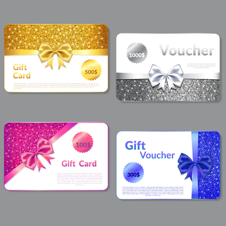 spangle: Gift Voucher Design with Glitter Texture of spangle and  Bow. Gift card  Design, Certificate for Shopping.