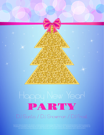 new year party: New Year Party  flyer. Vector template. Holiday Party invitation with ornaments, label and ribbon. Illustration