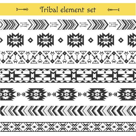 decoration elements: Vector Tribal elements, Ethnic patterns. Geometric and aztec decor elements. Aztec stile, tribal art, tribal design for trandy textile , background, invitation, flyer Illustration