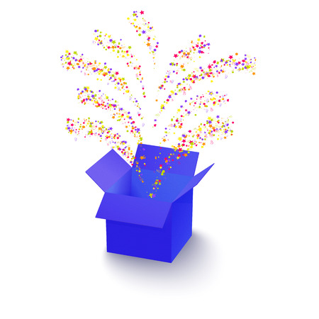 surprise box: Surprise box with flying fireworks from confetti Illustration