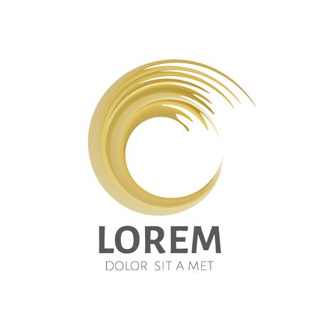 swirl: Golden swirl logo. Golden brush stroke logo.